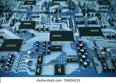 Shot of integrated circuit board.