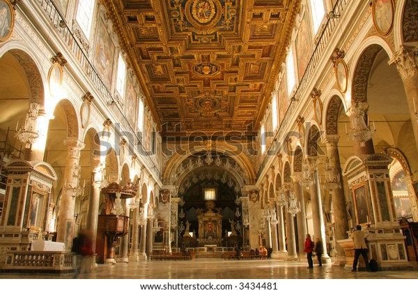 Shot of the interior of a church in Rome, Italy