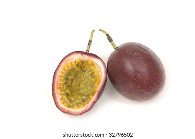 Shot of an isolated passion fruit, cut open