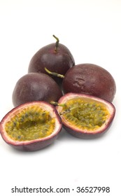 Shot of isolated passion fruit , cut open