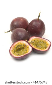 Shot of an isolated passion fruit, cut open.