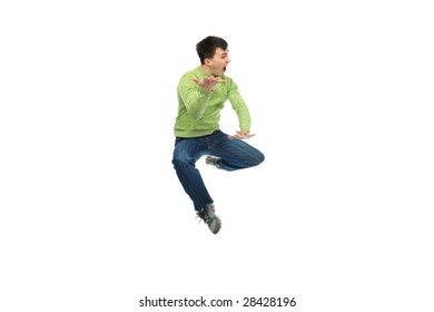 Shot of a jumping young man. Success, life events.