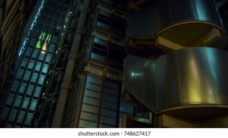 Shot of Lloyds building in London, England.Long exposure.