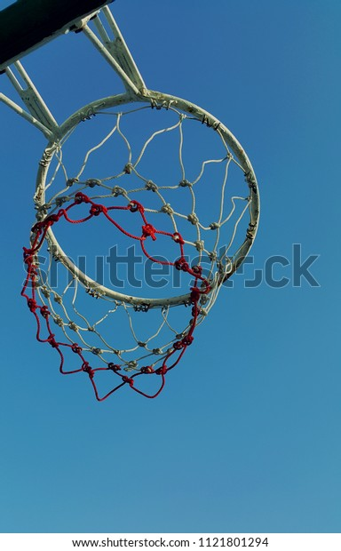 A shot look up to basketball hoop