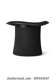 Shot of a magicians style top hat isolated on a pure white background with clipping path.