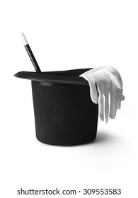shot of a magicians top hat, gloves and magic wand isolated on a pure white background with a clipping path and copy space.