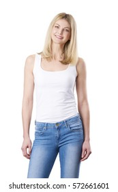 Shot of a middle aged woman standing at isolated white background while looking at camera and smiling.