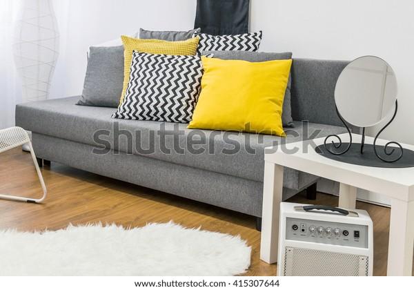 Shot Modern Grey Yellow Living Room Stock Photo Edit Now 415307644