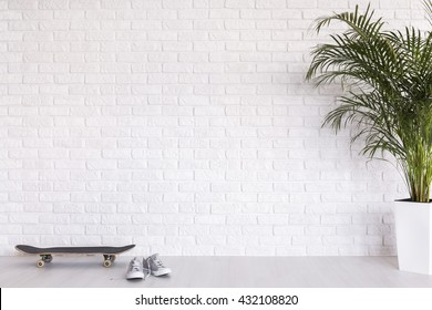 Shot of a modern white room with a plant, a skateboard and a pair of shoes