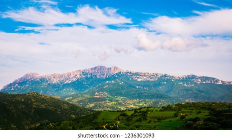 Shot of mountains near Orgosolo, Sardinia, Italy