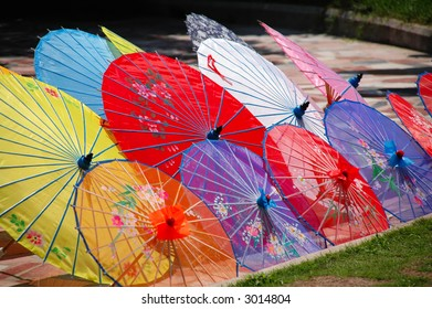 Shot of multi color traditional Chinese umbrellas