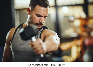Shot of a muscular guy in sportswear working out with dumbbells at the cross training gym. He is pumping up shoulders muscule with heavy weight.