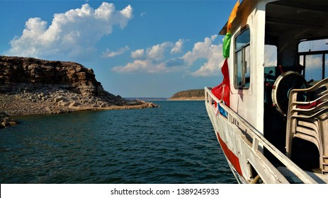 a shot of Nagarjuna Sagar lake in the state of Telangana in India