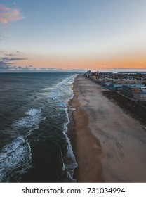 A shot of Ocean City beach around sunset.