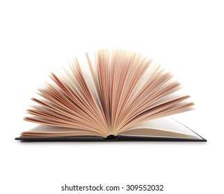 Shot of open book with pages fanned out, isolated on white with shadow