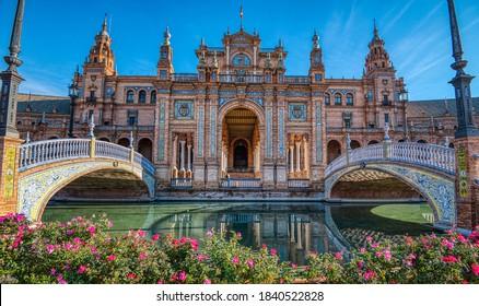 A shot of part of the beautiful Plaza de Espana Seville