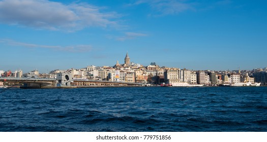 A shot of part of Istanbul, Turkey cityscape taken from Eminönü and Golden Horn waterway showing the Galata Bridge and the Galata Tower