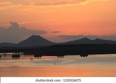 Shot of Pinnacle Mountain at sunset, Little Rock, AR