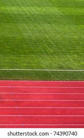A shot of a running track & soccer field