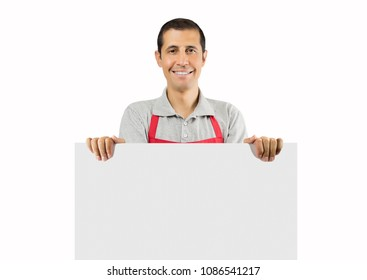 Shot of a shopman holding up a blank placard with white background