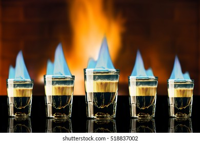 Shot Short Cocktail Drink B52s Light Fire Alcohol Hot Sweet Liquor Blue Red  Flame