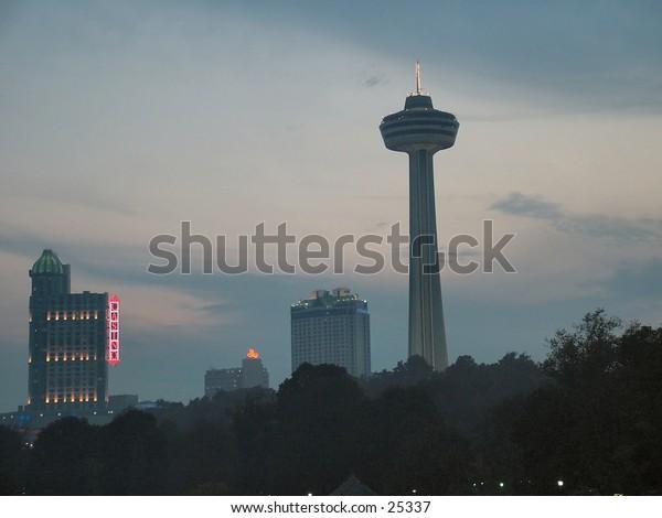 A shot of the skyline at Niagara Falls at dusk (Canada side)