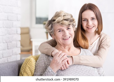 Shot of a smiling grandmother and granddaughter