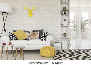 Shot of a sofa in a modern studio