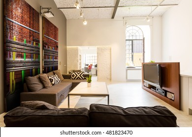 Shot of a spacious cozy living room in a loft apartment