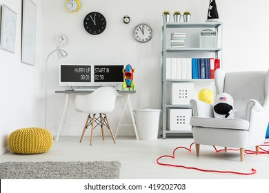 Shot of a spacious modern children's room  full of colorful decorations