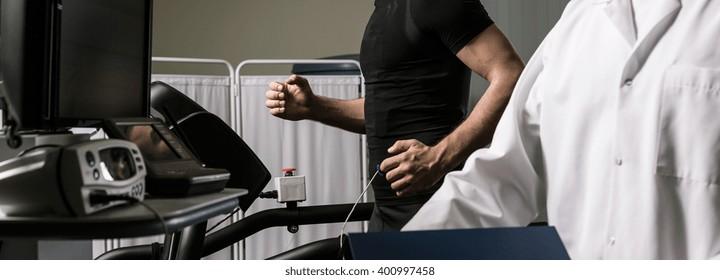 Shot of a sportsman during a cardiac stress test