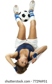 Shot of a sporty young woman with a soccer ball. Active lifestyle.