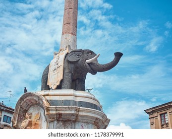"Shot of the statue of the ""Liotru"" (the elephant in the Sicilian slang) at the Dome square in Catania. The Liotru is the main symbol of the city"