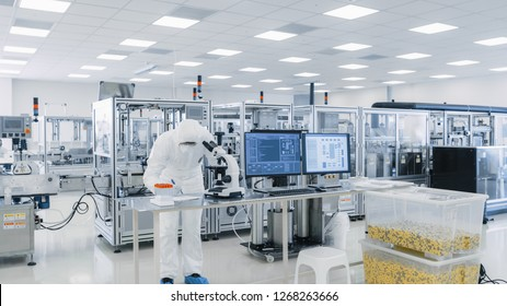 Shot of Sterile High Precision Manufacturing Laboratory where Scientists in Protective Coverall's Use Computers and Microscopes, doing Pharmaceutics, Biotechnology and Semiconductor Research.