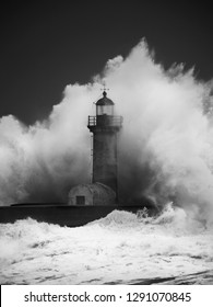 Shot of a storm over a lighthouse in winter Oporto city. Capture the wave