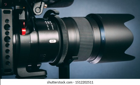 Shot in studio (Netherlands) on September 22, 2019: Panasonic GH5 4K Camera filmmakers rig. Dslr with Tamron 70-200 2.8 lens and follow focus.
