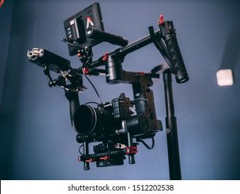 Shot in studio (Netherlands) on September 22, 2019: DJI Ronin M Stabilizer with Panasonic 4K Camera, Aputure DEC and monitor Film maker kit