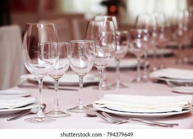 A shot of table settings in fine restaurant