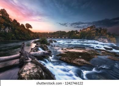 "Shot taken at the iconic place ""Rheinfall* in Switzerland. Second biggest waterfall of Europe in Neuhausen near Schaffhausen in the northern of Switzerland."