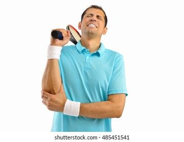 Shot of a tennis player with a elbow injury over white background