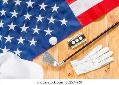 shot from top of golf equipment closeup