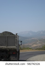 Shot of a truck with red grapes near Shaki, Azerbaijan