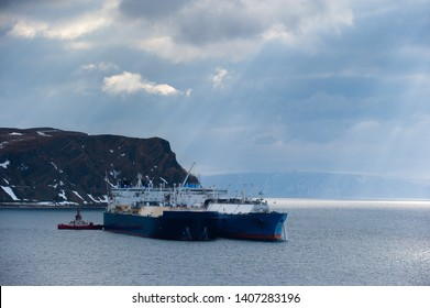 Shot of two Liquified Natural Gas Carriers doing ship-to-ship cargo operation in Honningsvaag, Norway.