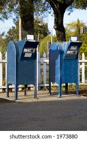 Shot of two mailboxes.