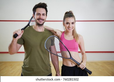 Shot of two squash players