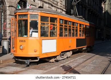 Shot of a typical tram in Milan roads