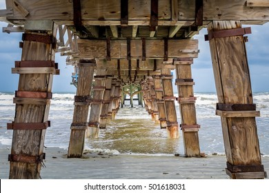 Shot underneath of the Sunglow Pier in Daytona Beach, Florida.