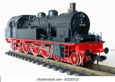 Shot of vintage black model railway