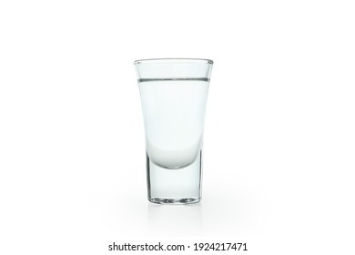 Shot of vodka or tequila isolated on white background