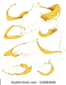 Shot of yellow paint splashes, isolated on white background